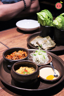 Ssam Platter with Spicy Pork and Gang-deon-jang