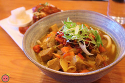Curry Udon with Kimchi in Pork Curry Broth