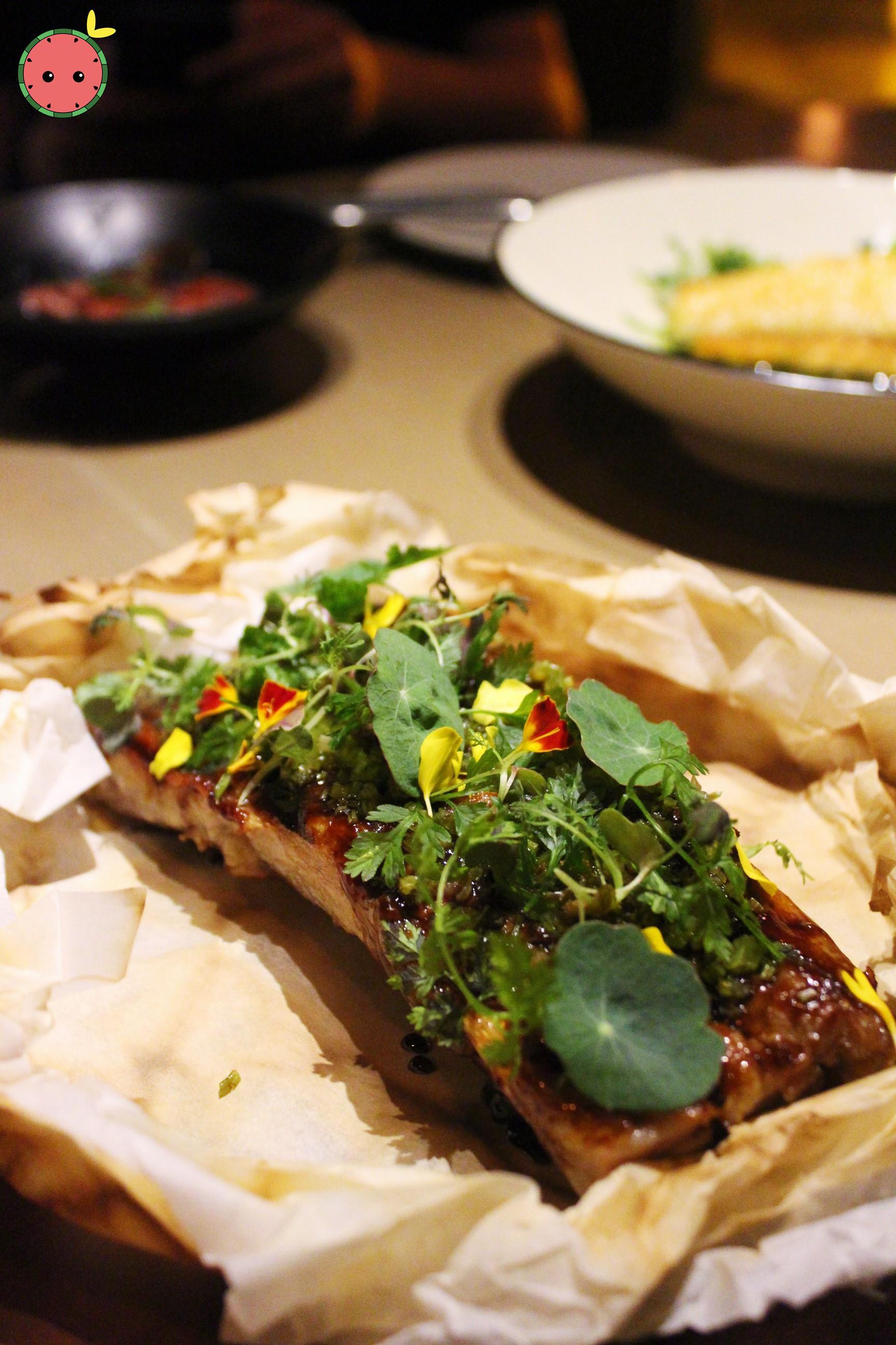 BBQ Pork Ribs - Plum & Miso Glaze, Capers, Mustard Greens