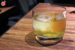 Milk Punch (lotus leaf infused clarified milk with cynar jasmine infused Hwa Yo 41 & lemon juice)