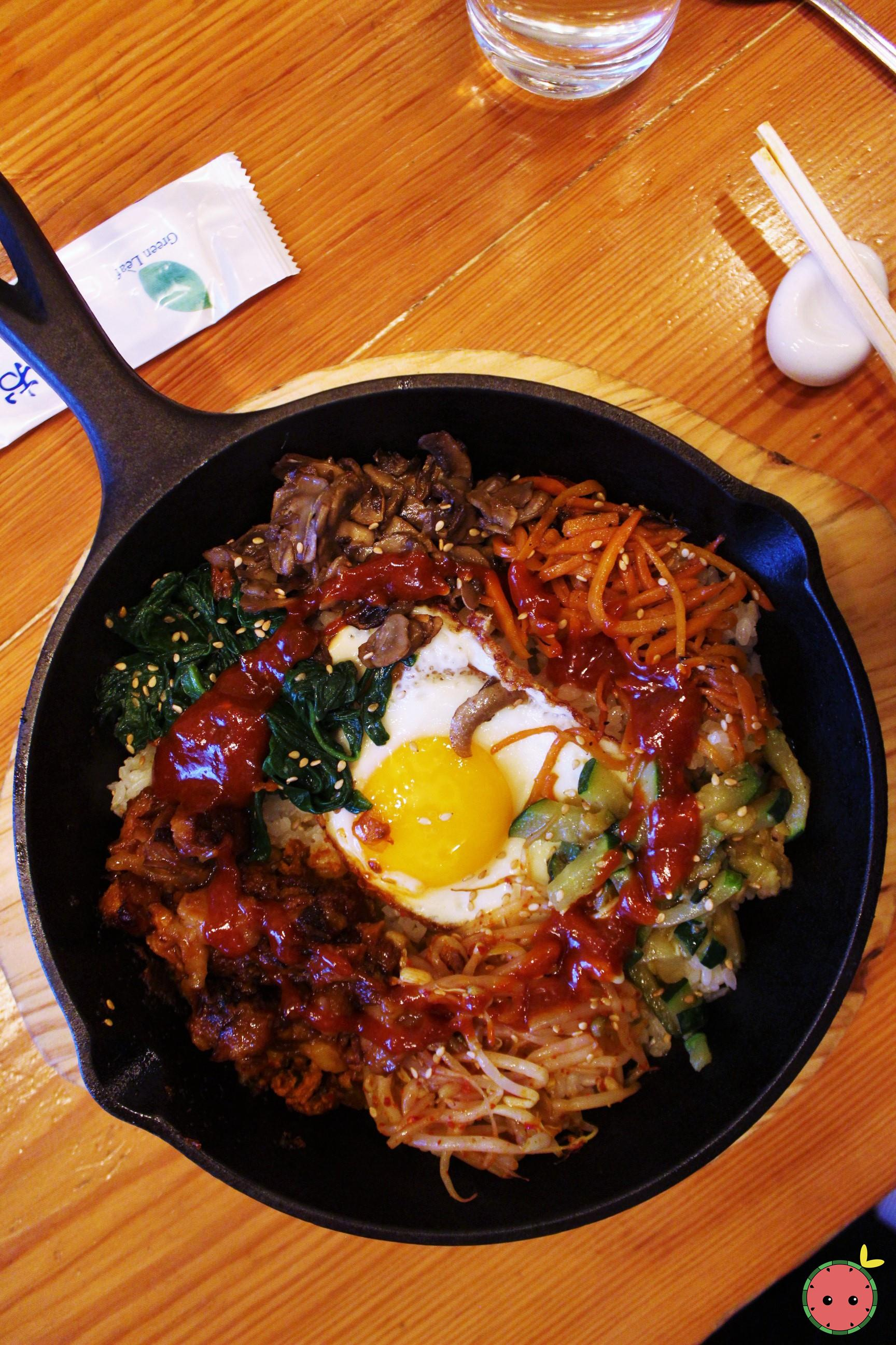 Beef bulgogi bibimbap in sizzling hot plate