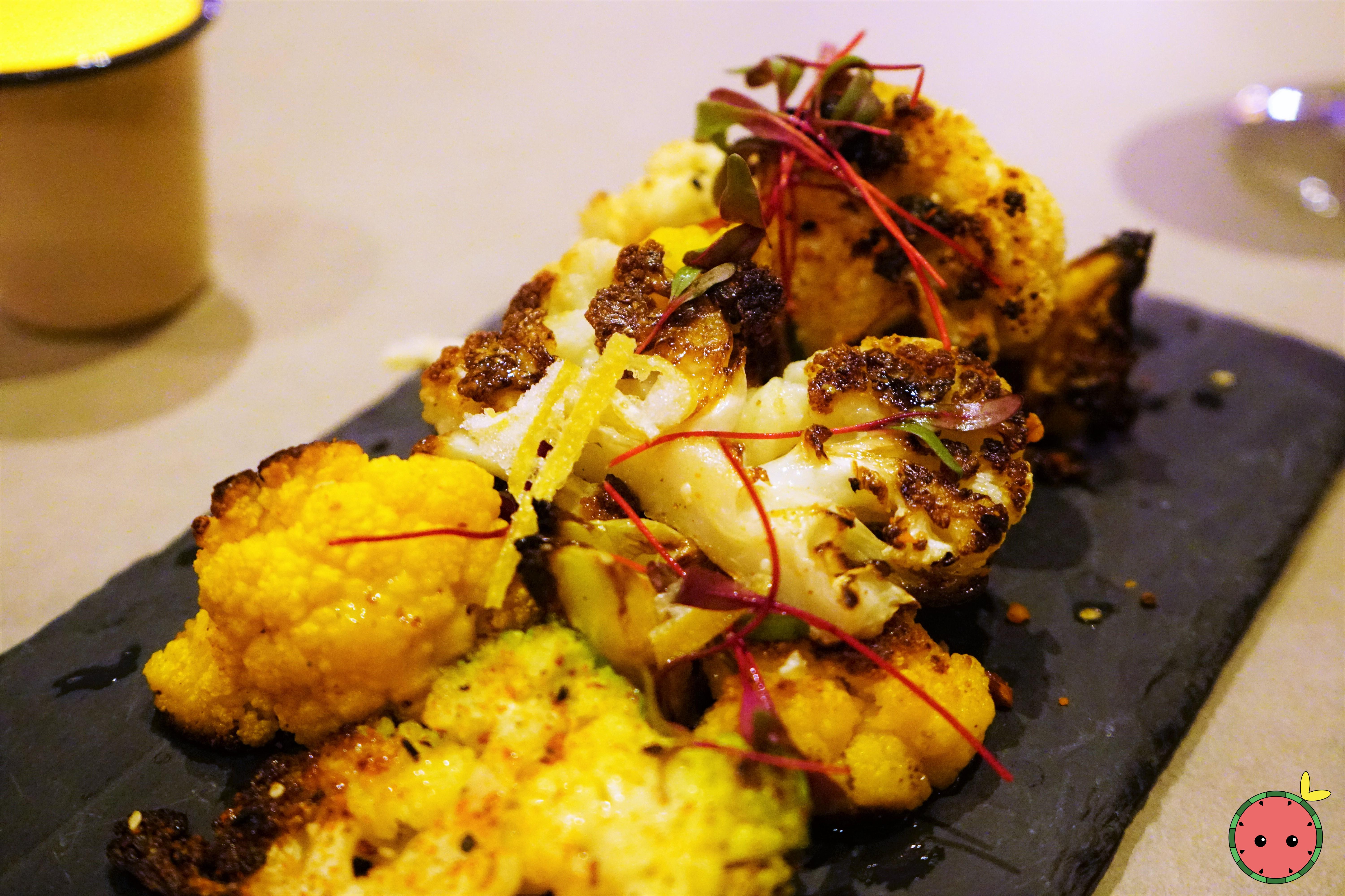 Spice-Roasted Cauliflower - Pecan and Sesame Seed Dukka, Brown Butter, Sorel, & Candied Lemon Zest (