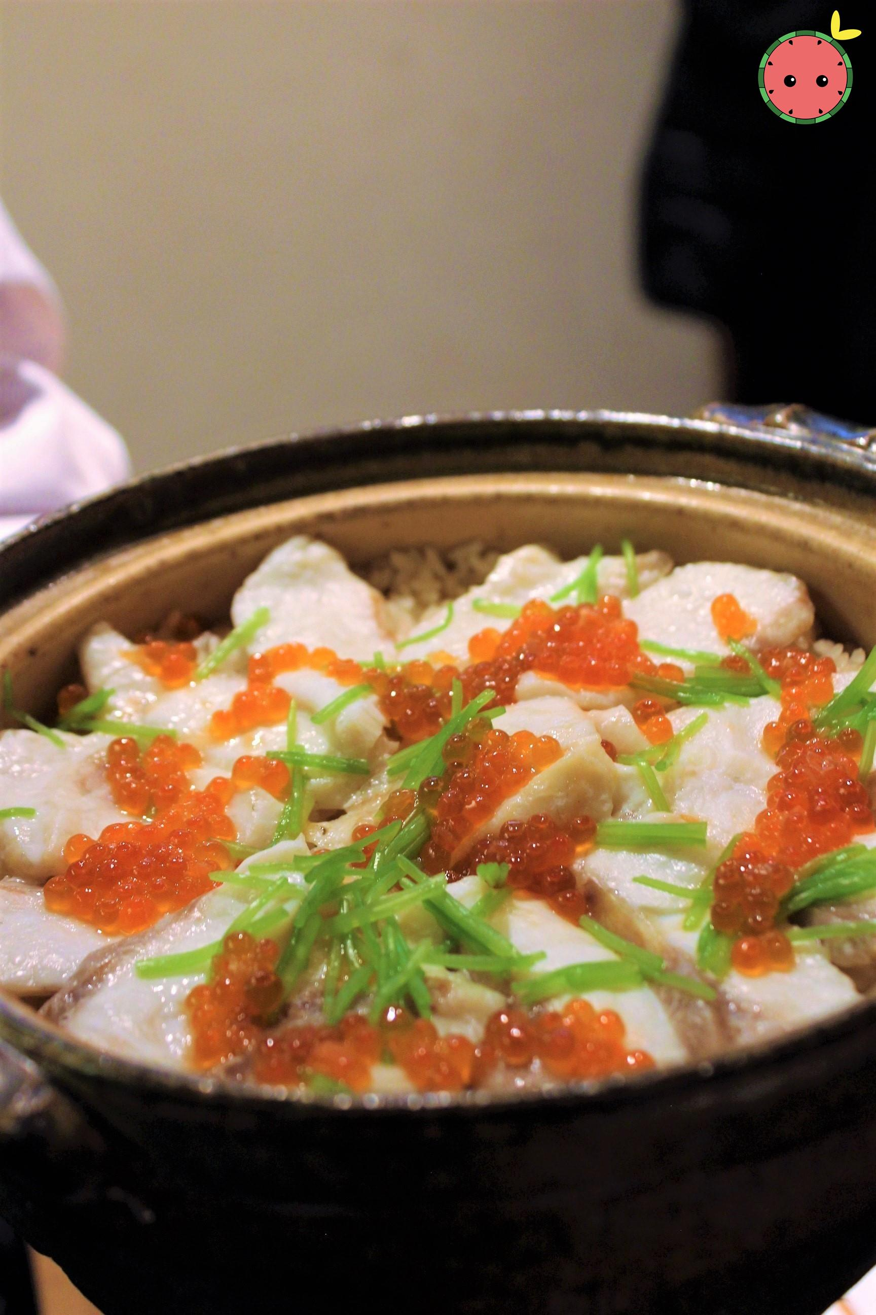 Red Snapper with Salmon Roe over Rice