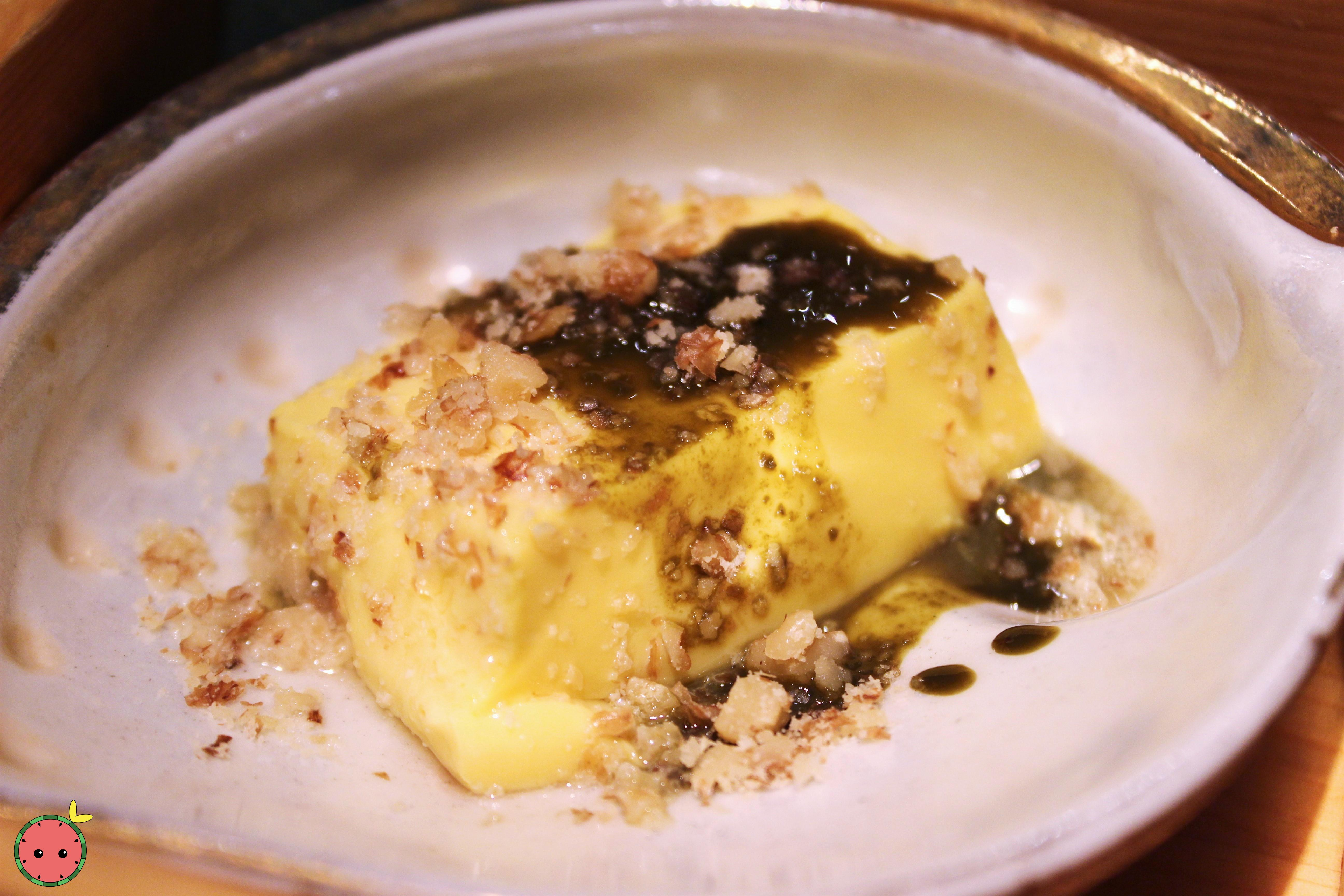 Organic egg tofu with abalone liver sauce and walnuts