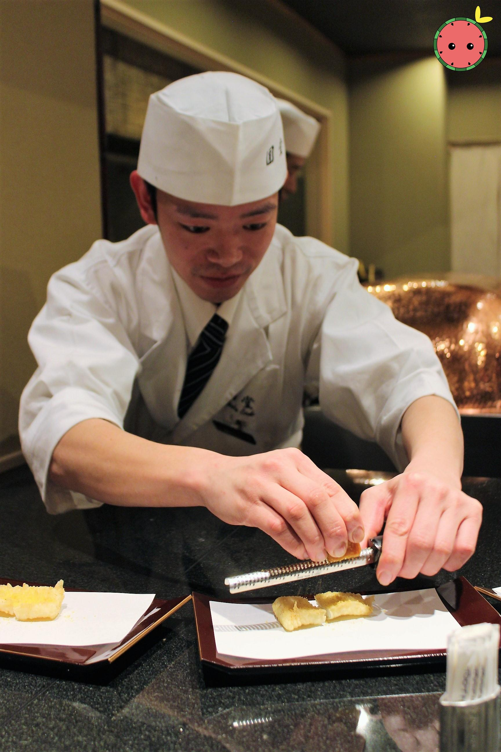 Seasoning the Calamari and Dried Mullet Roe Tempura