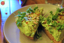 Avocado Toast (homemade wheat bread, alepo pepper, lemon, Lebanese olive oil, seeds & sprouts, basil
