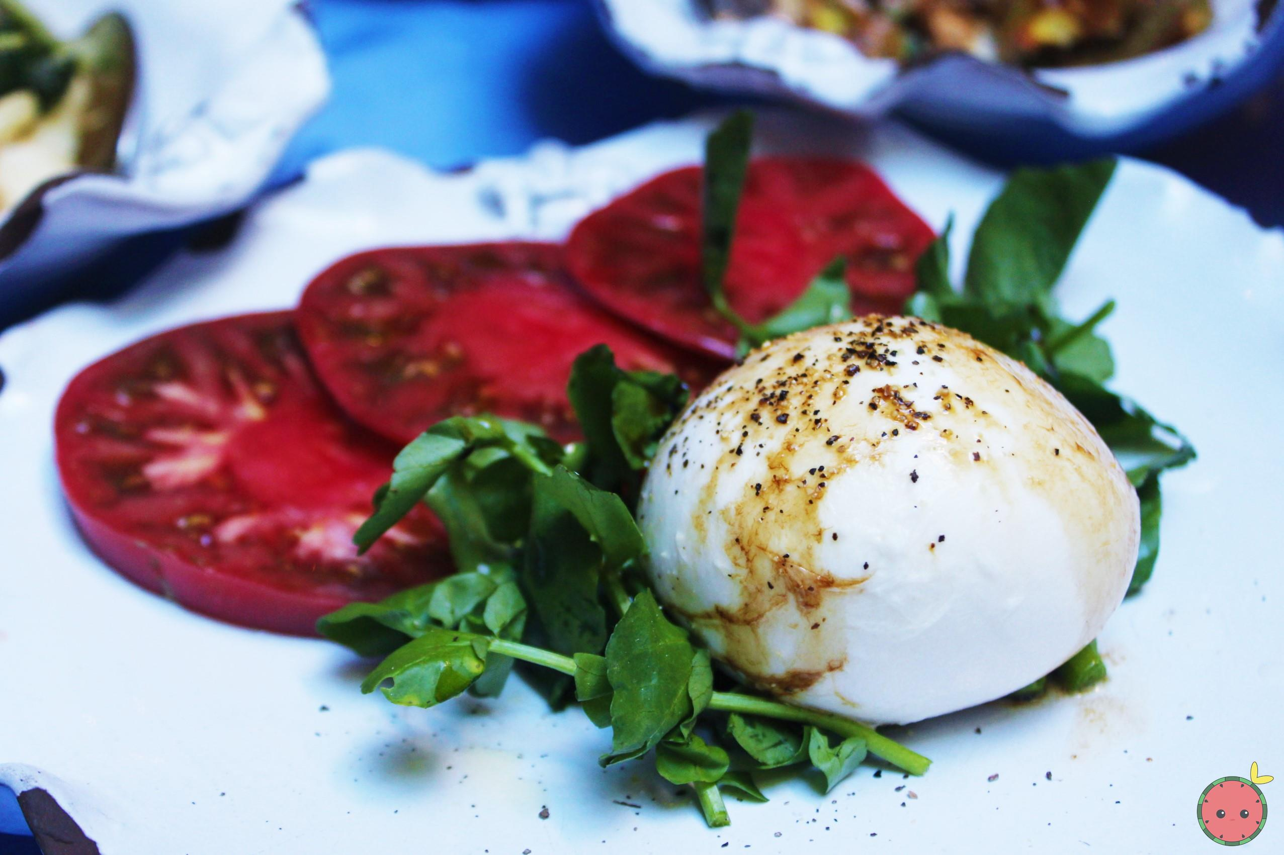 Burrata with tomato and basil