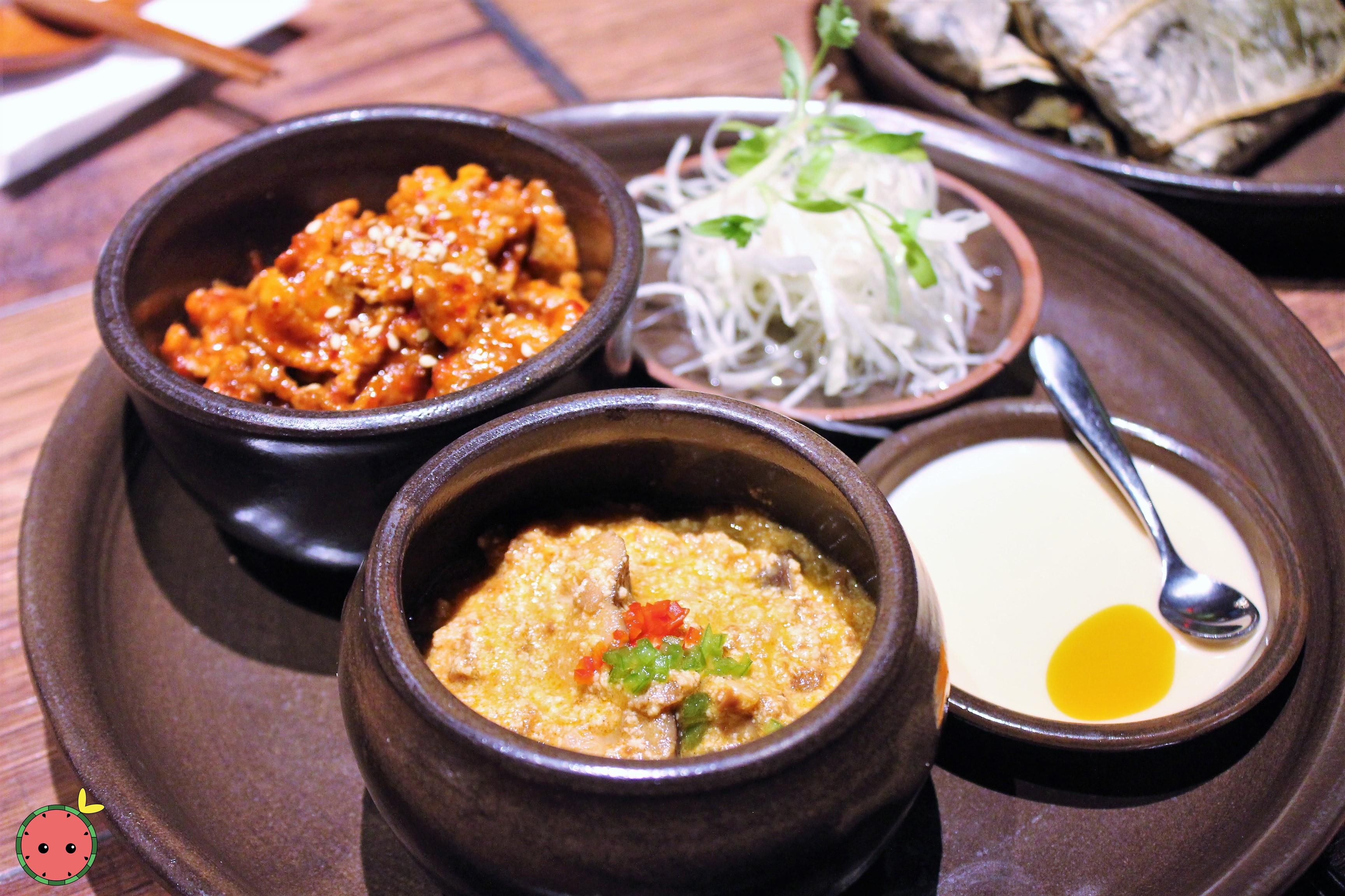Ssam Platter with Spicy Pork and Gang-deon-jang (1)