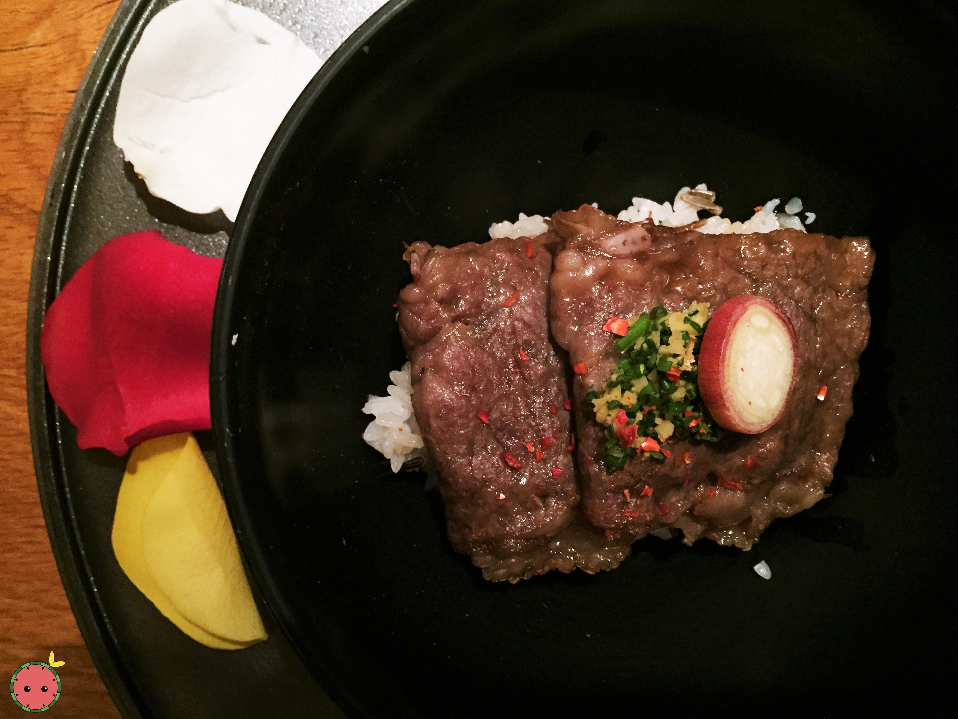 Oregon Washu Beef Sukiyaki over wild rice