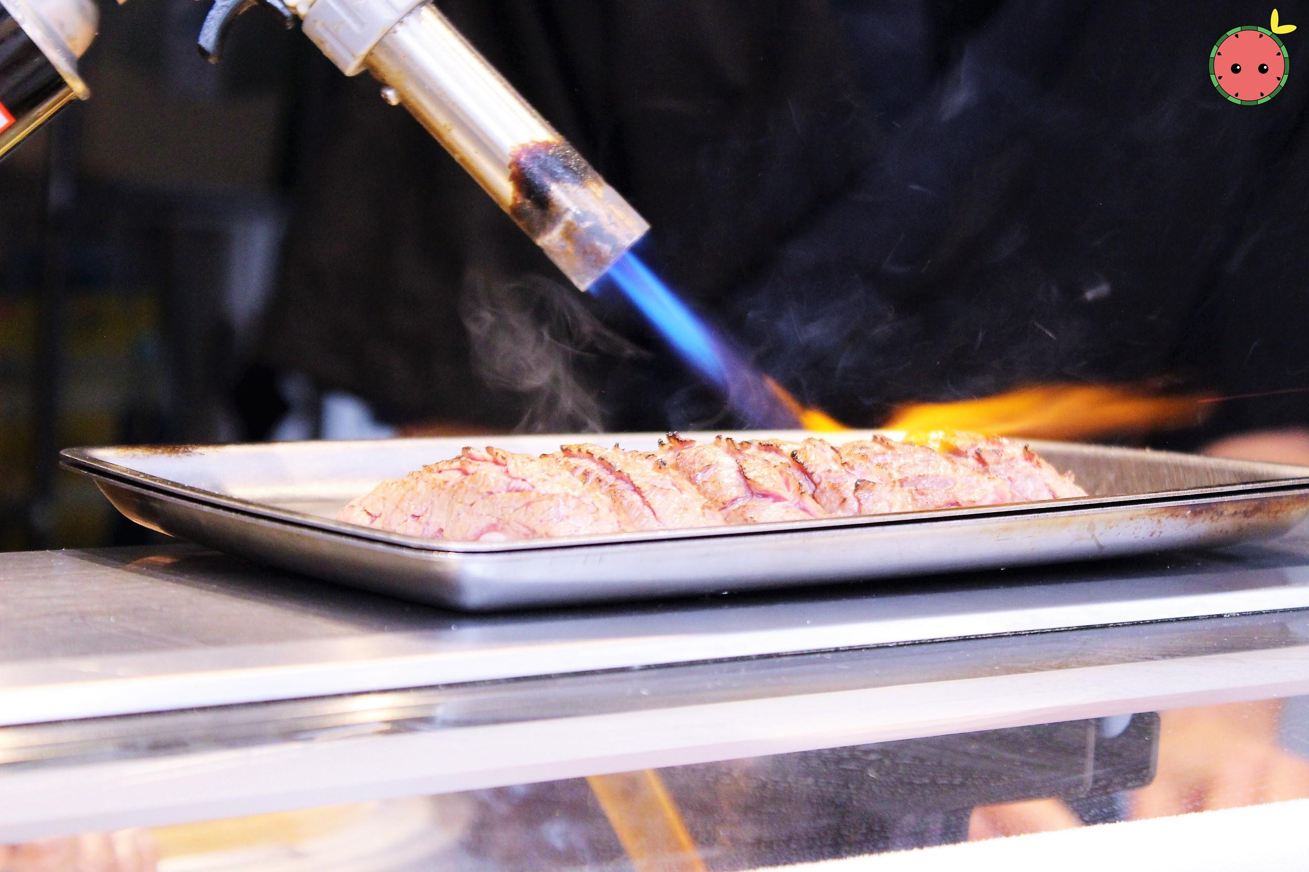 Blow torching the wagyu