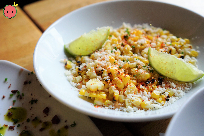 Grilled Corn with Cotija Cheese, Ancho Chili Creme, Lime, & Guajillo (2)
