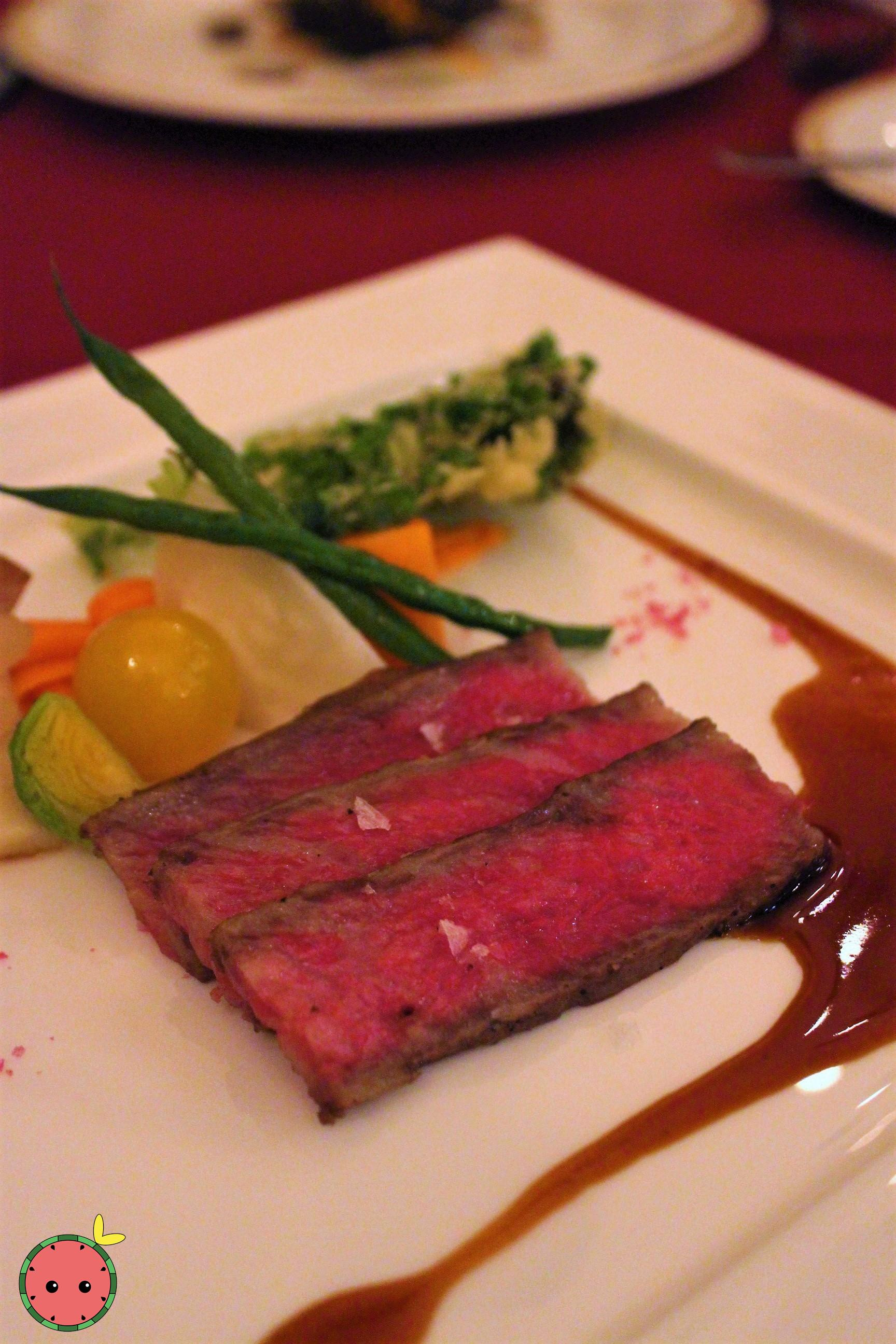 Roasted Kuroge Wagyu Beef topped with Madilla Sauce and Pink Crystal Salt