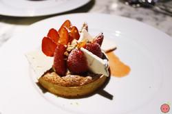 Gariguette strawberry tart, hazelnut shortbread biscuits, lime