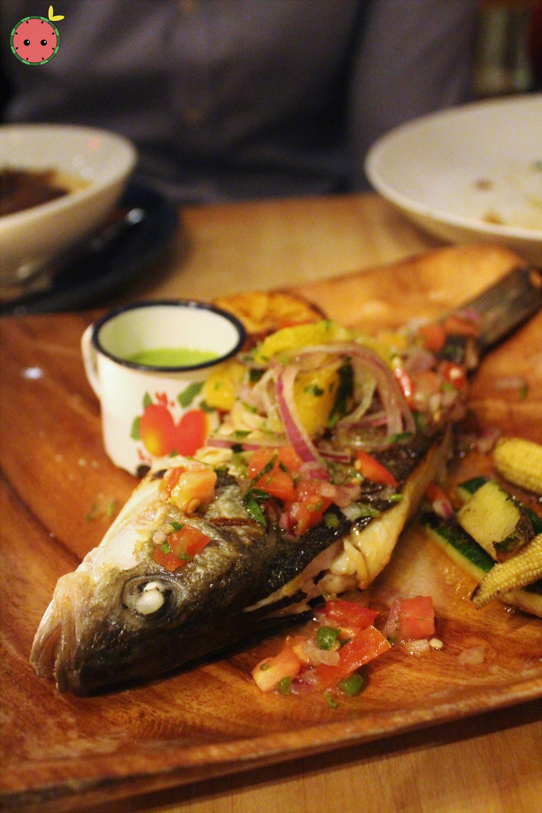 Grilled branzino, grilled root vegetable salad, chimichurri, sumac