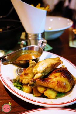Rotisserie Chicken with Smoked Fingerlings, Escarole & Moutarde Violette
