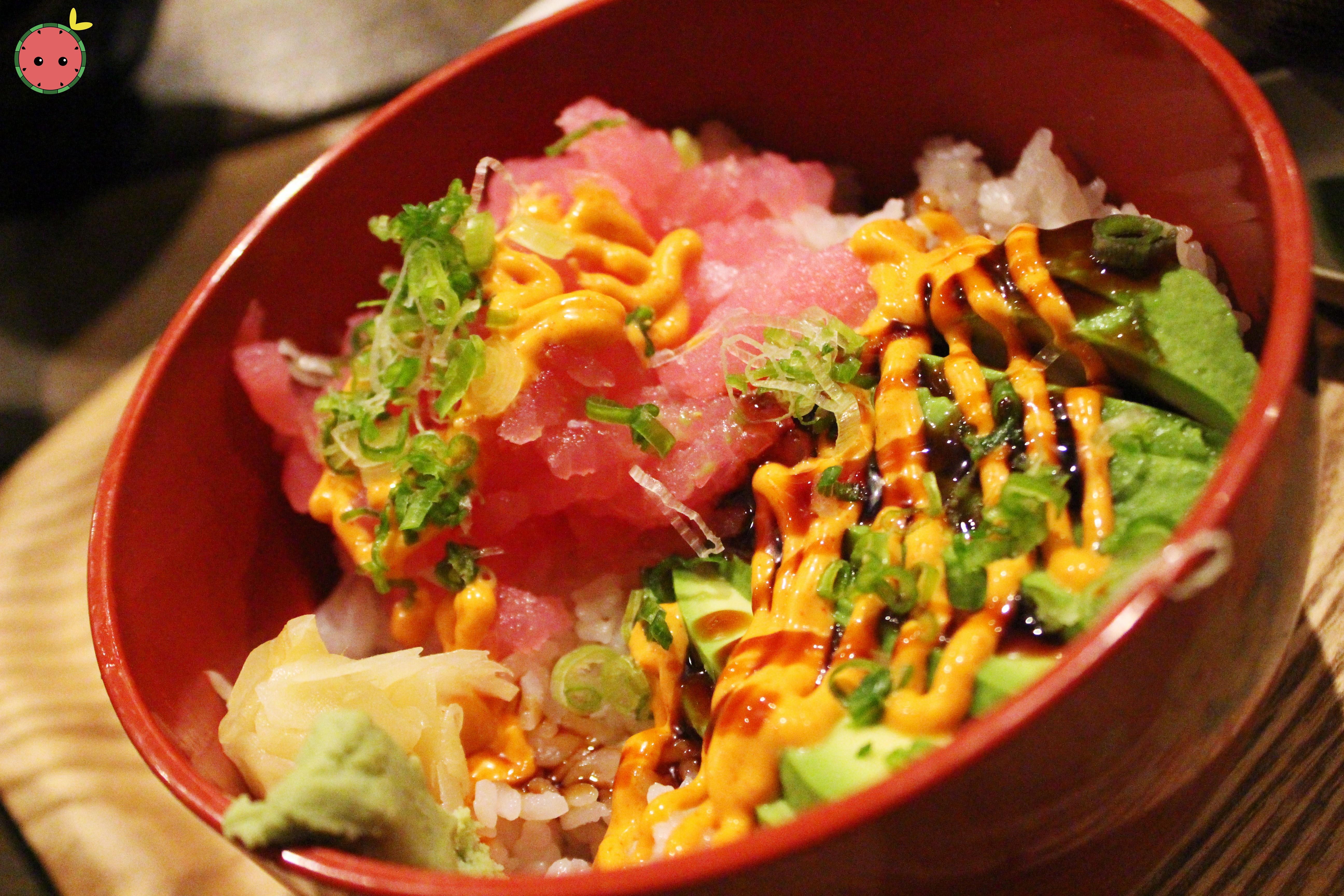 Tuna Tartar Don - Chopped tuna sashimi with avocado and spicy mayonnaise over rice