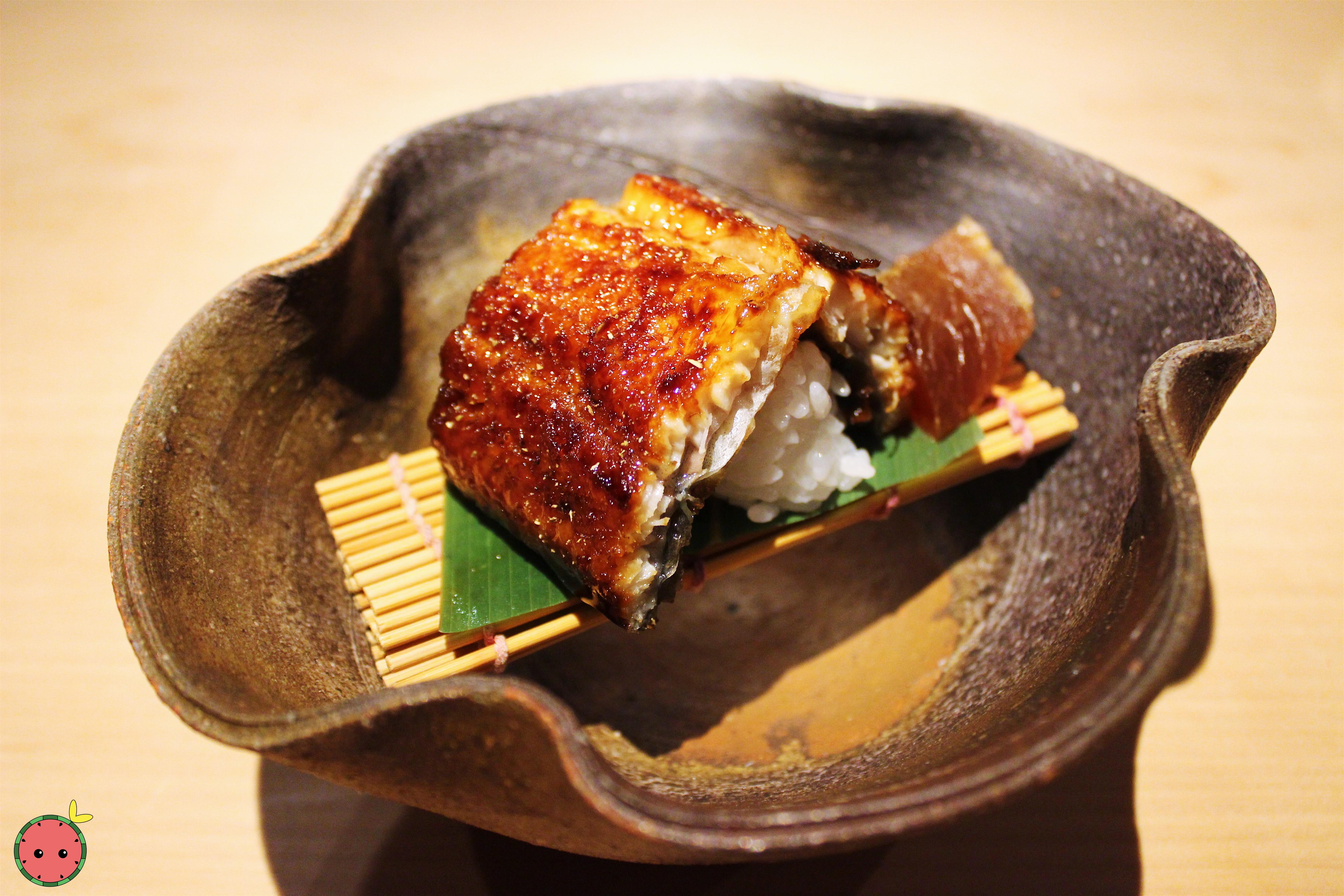 Unagi Kabayaki with Narazuke Japanese pickle marinaded in sake for 2 years at NAOE