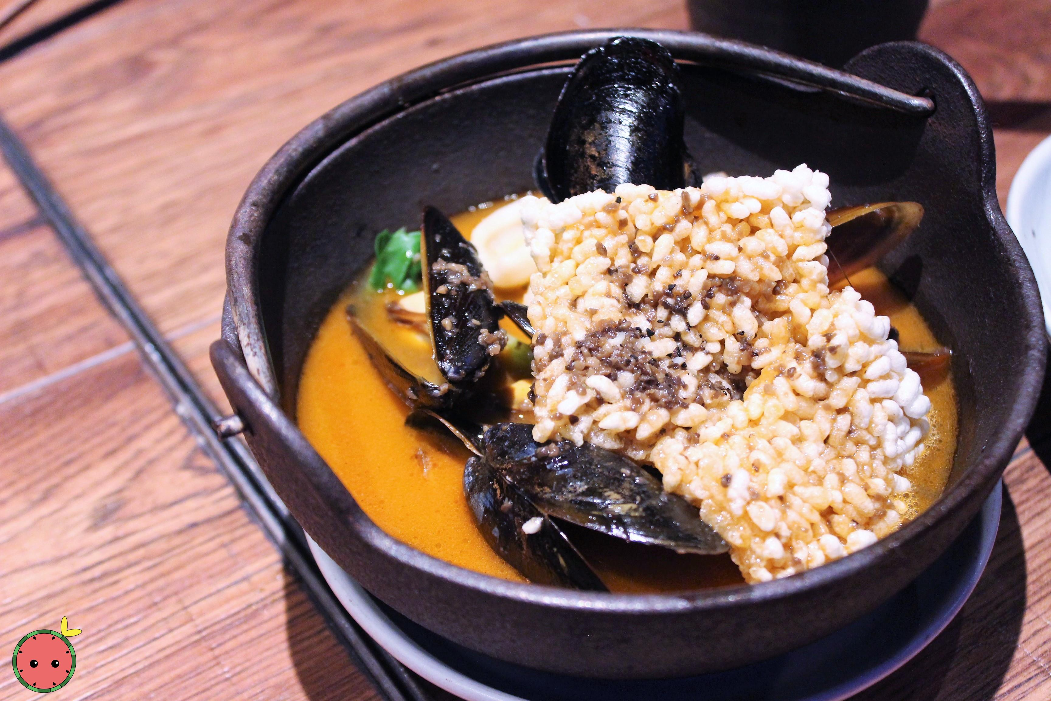 Truffle Seafood Broth with Sizzling Crispy Rice