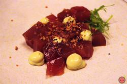 Bluefin Tuna Zuke - Pickled Tuna, avocado, yuzu, crispy quinoa