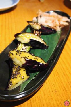 Sanshoku Nasu Degaku - Grilled Japanese eggplants served with three kinds of miso (eggyolk, spinach,