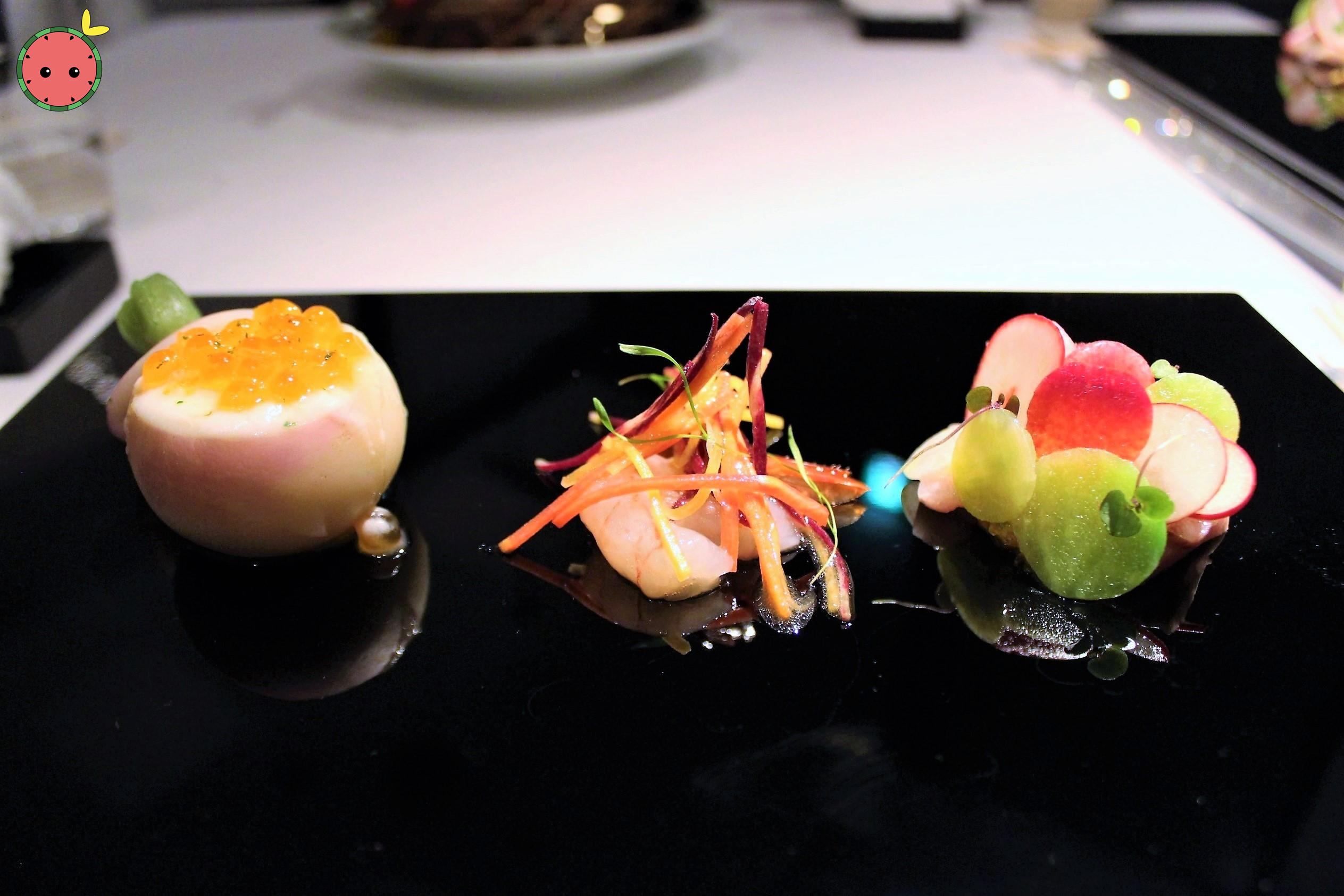 Salmon Roe & Hairy Crab in Turnip, Botan Shrimp, & Yellow Tail, Wasabi