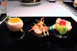 Salmon Roe & Hairy Crab in Turnip, Botan Shrimp, & Yellow Tail, Wasabi
