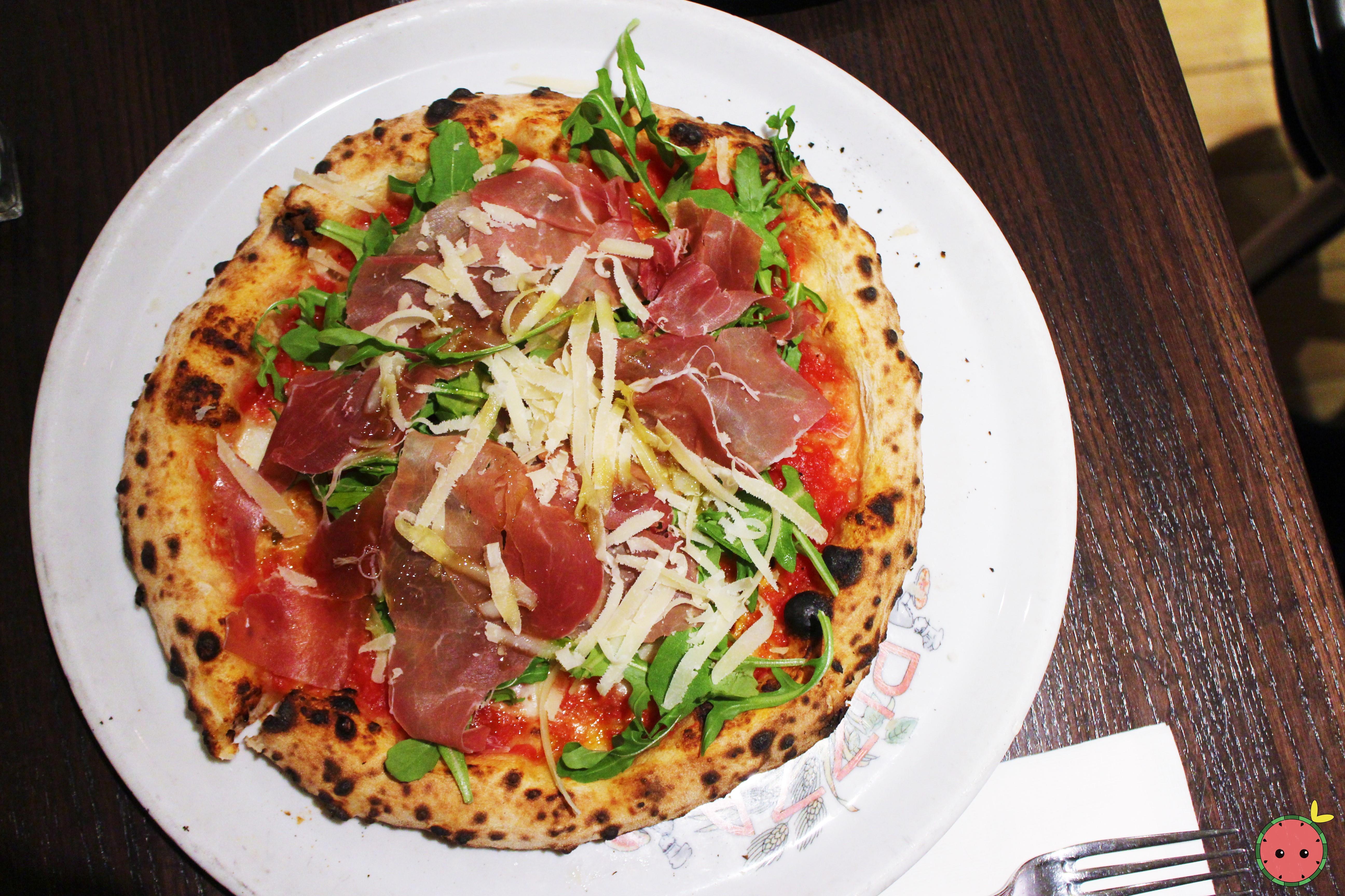 Keste Pizza - Tomato sauce, imported buffalo mozzarella, prosciutto di parma, arugula, gran cru, EV