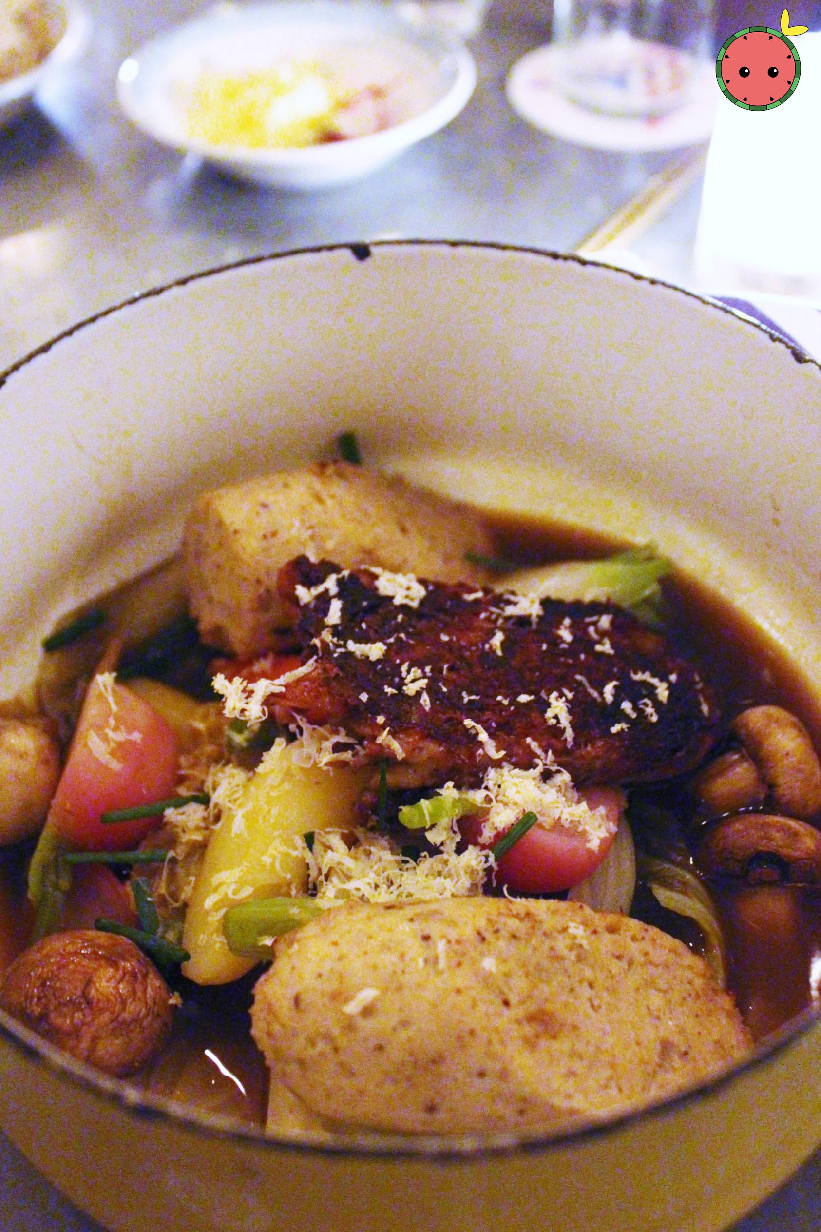 Plymouth Rock Pot au Feu with chicken skin and schmaltz toast