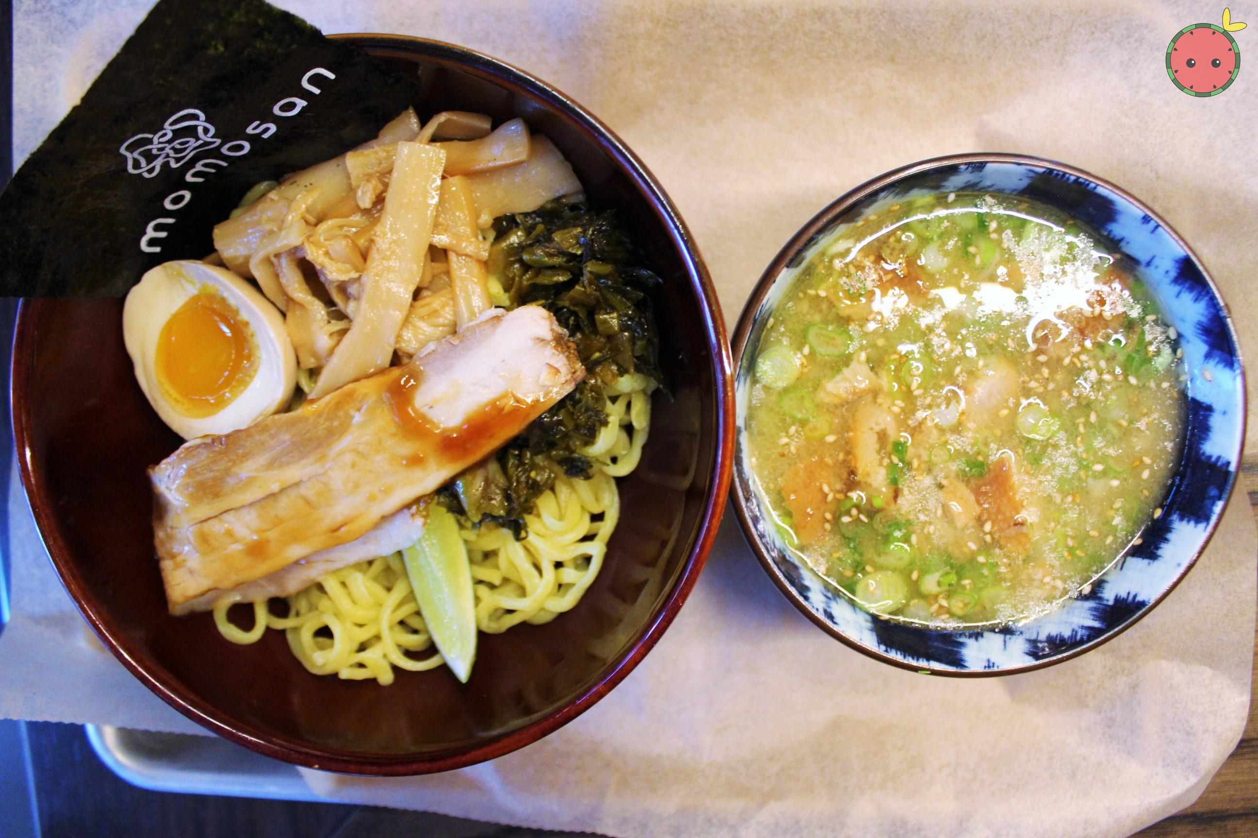 Tsukemen Ramen - Pork cashu, aji-tama, menma, takana, toasted nori, garlic oil, soy tare, lime in to