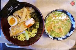 Tsukemen Ramen - Pork cashu, aji-tama, menma, takana, toasted nori, garlic oil, soy tare, lime in to