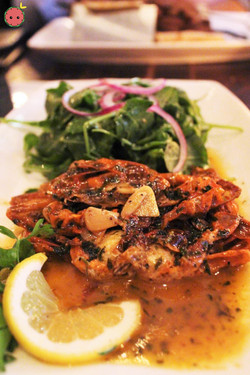 Soft shell crab with butter, wine, arugula