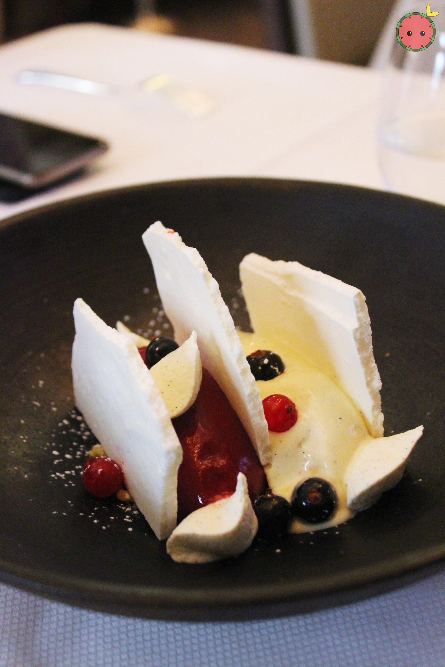 Blackcurrent and vanilla vacherin
