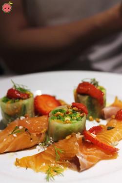 Banka trout gravlax, maki of vegetables, strawberry chutney