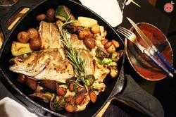 Pan roasted branzino with farmer's season vegetables