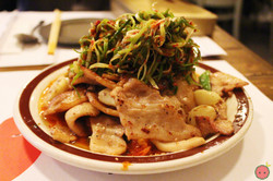 Spicy pork belly & stir fried kimchi with scallion salad