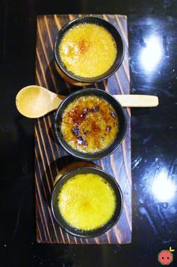Top to bottom - Roasted green tea crème brûlée, black sesame crème brûlée, green tea crème brûlée