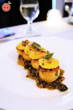 Scallops with Sweet Potato Ravioli, Mixed Mushrooms, & Pumpkin Seeds (2)