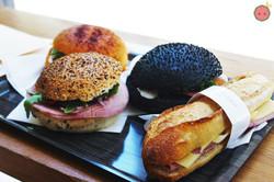 Tandoori Chicken Sandwich with Paprika Bread, Squid Ink Bun Sandwich, Jambon-Beurre Sandwich, Ham, L