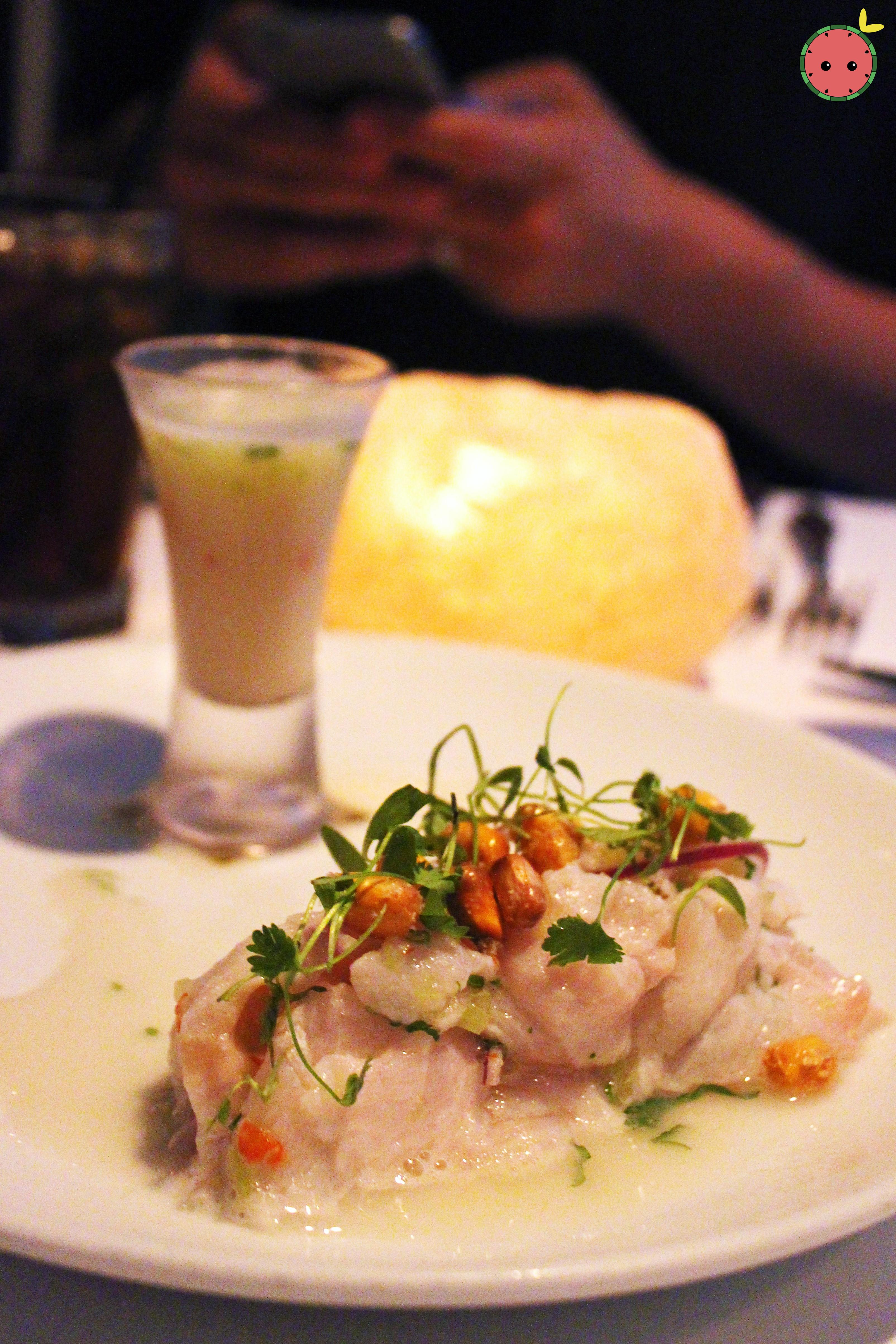 Corvina Ceviche - Lime juice, cilantro, red onion, lime peppers, Peruvian crispy corn with a side of