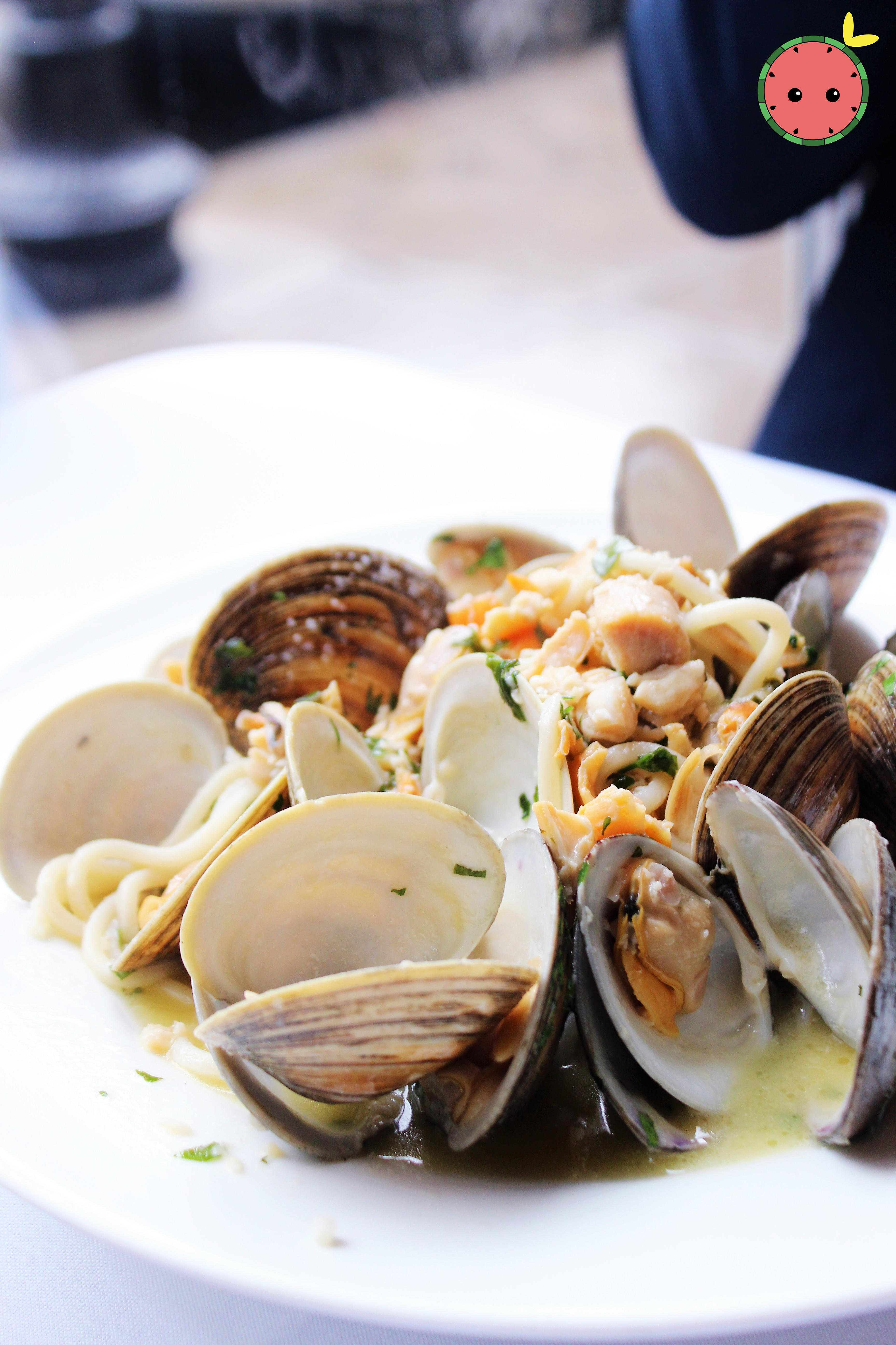 Spaghetti with Little Neck Clams in White Wine Lemon Sauce