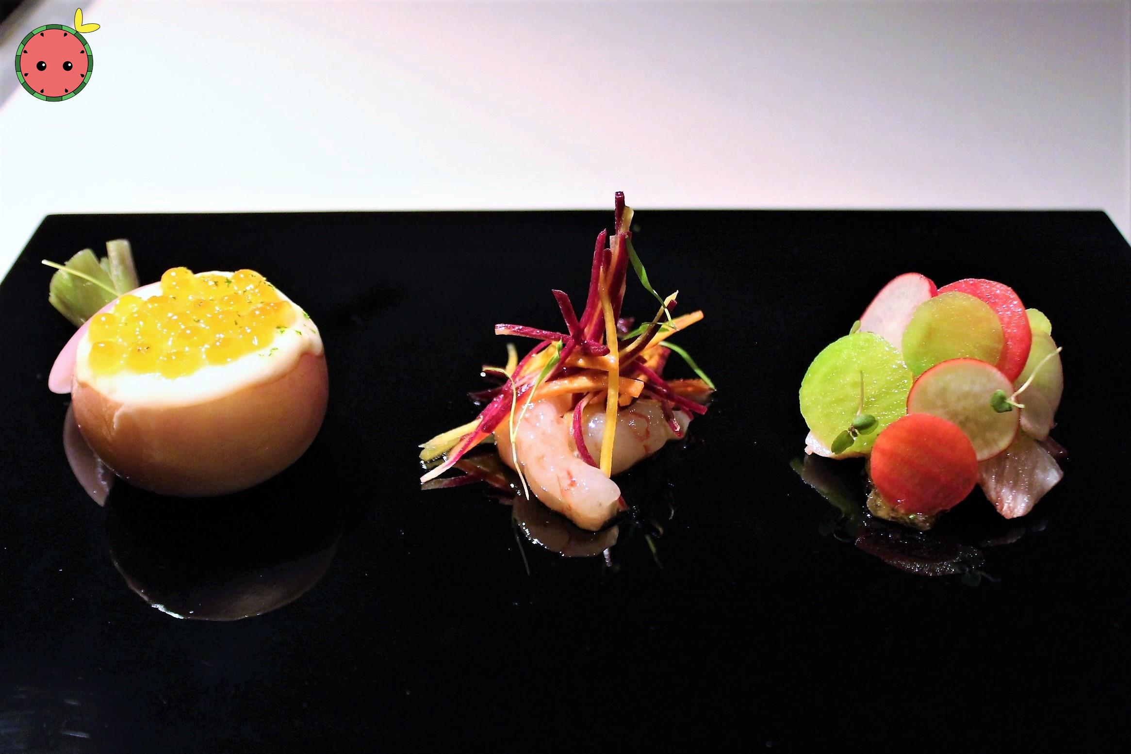 Salmon Roe & Hairy Crab in Turnip, Botan Shrimp, & Yellow Tail, Wasabi 2