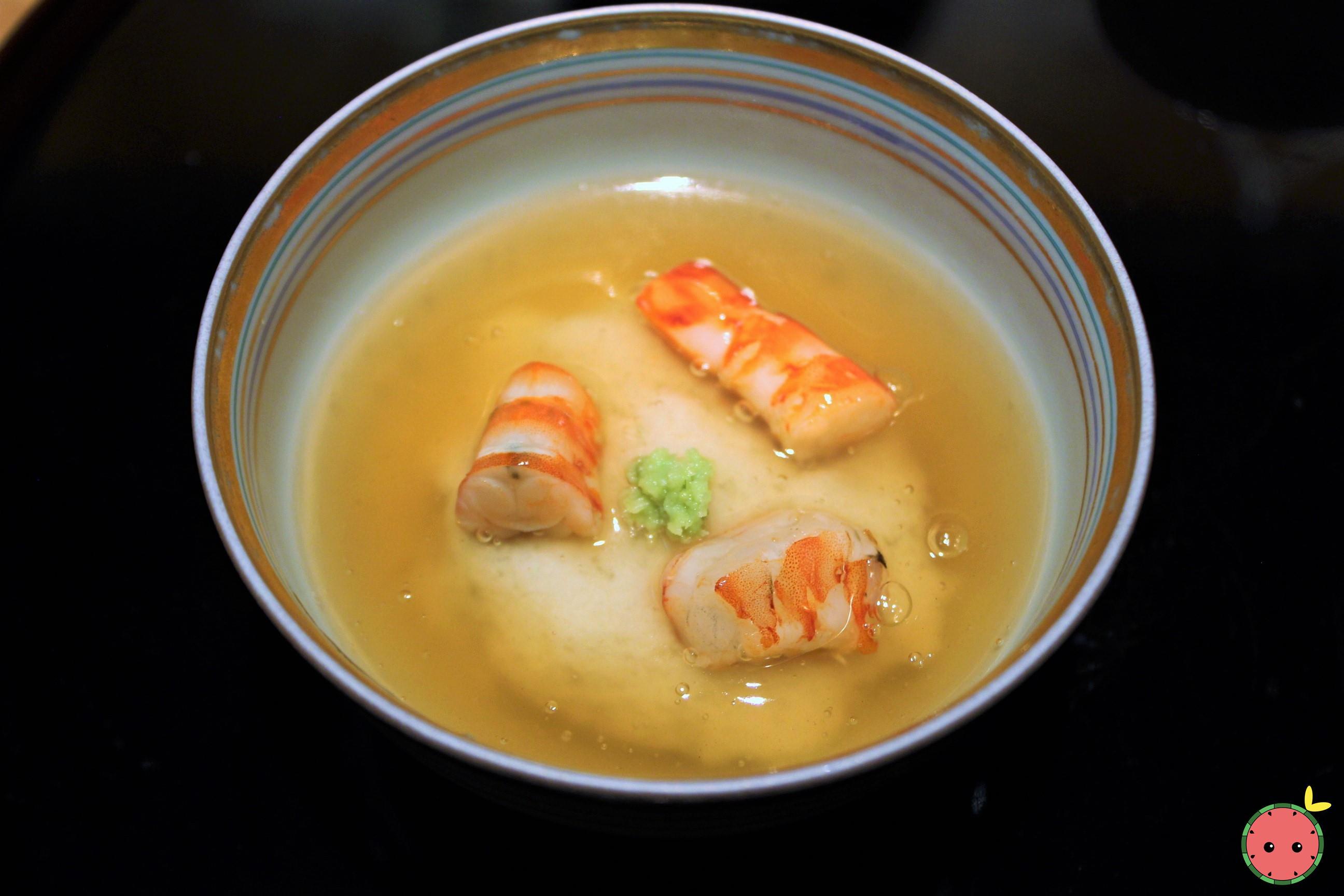 Shrimp, Turnip, Wasabi, and Gingko in Warm Dashi Jelly 2