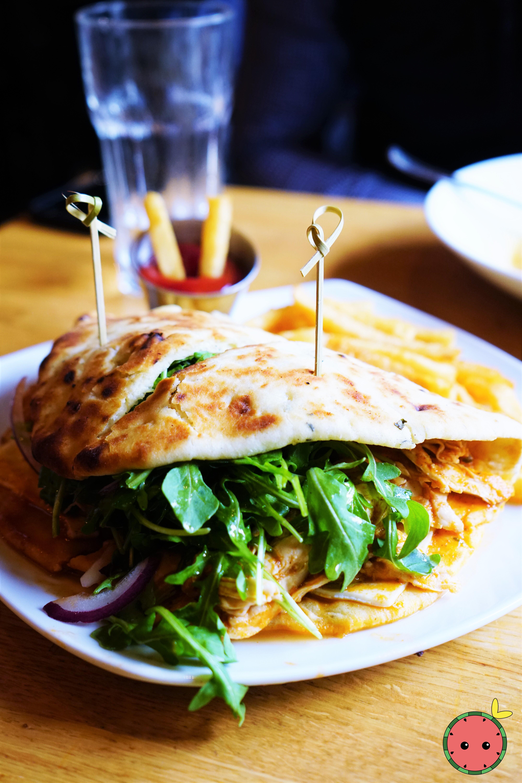 Chicken Tikka Sandwich with Masala Sauce, Red Onion, Arugula, Paneer, Garlic Naan, & Fries (2)