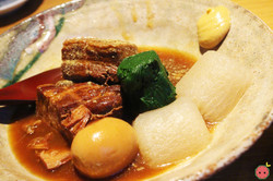 Kurobuta Kakuni - Braised Berkshire pork belly in sansho miso served with a hard boiled egg, spinach