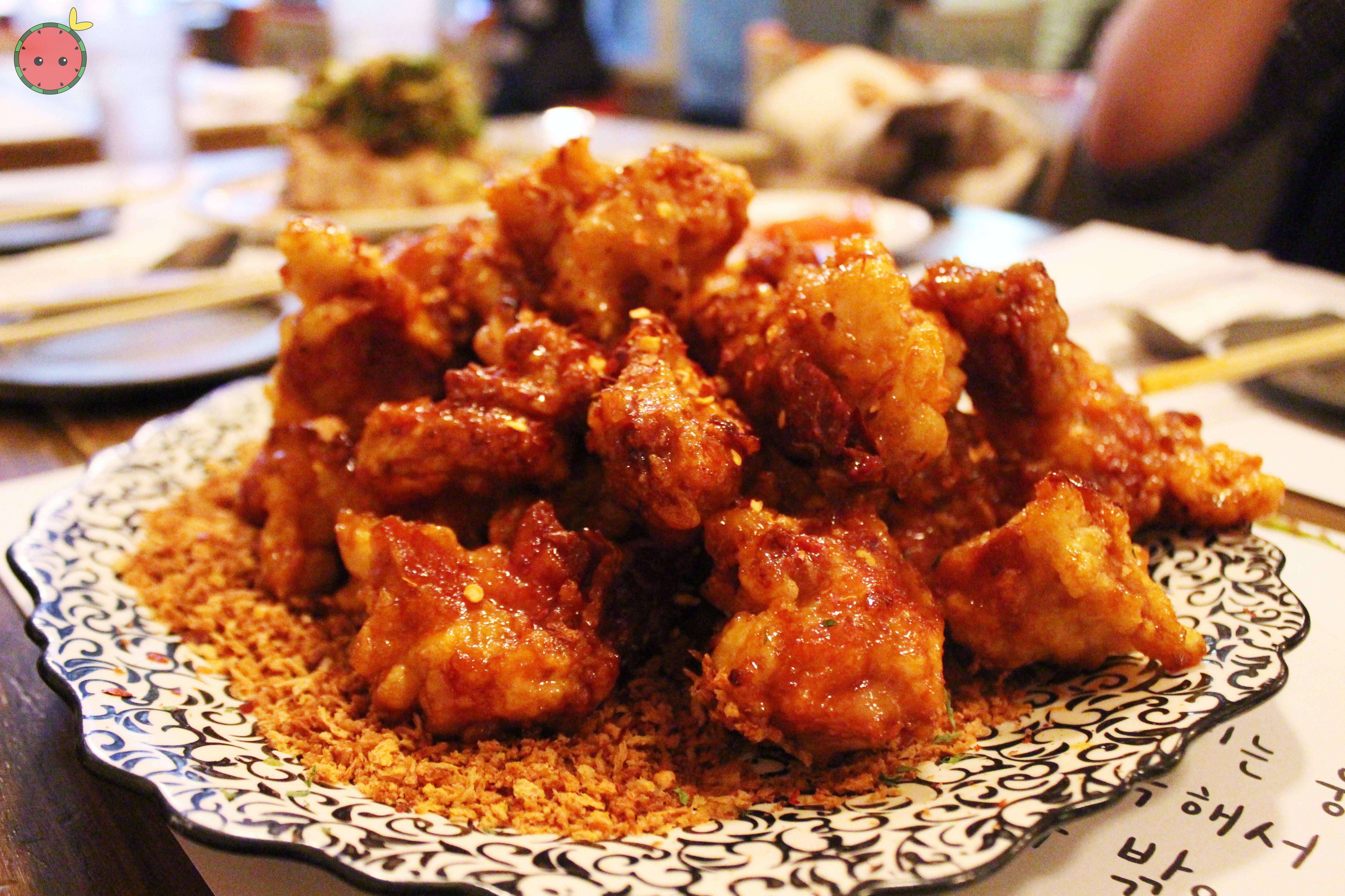 Spicy crispy chicken with garlic crust