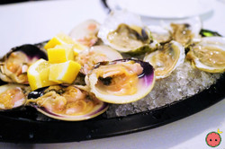 Little Neck Clams & Oysters with Cocktail Sauce, Prosecco, & Lemon