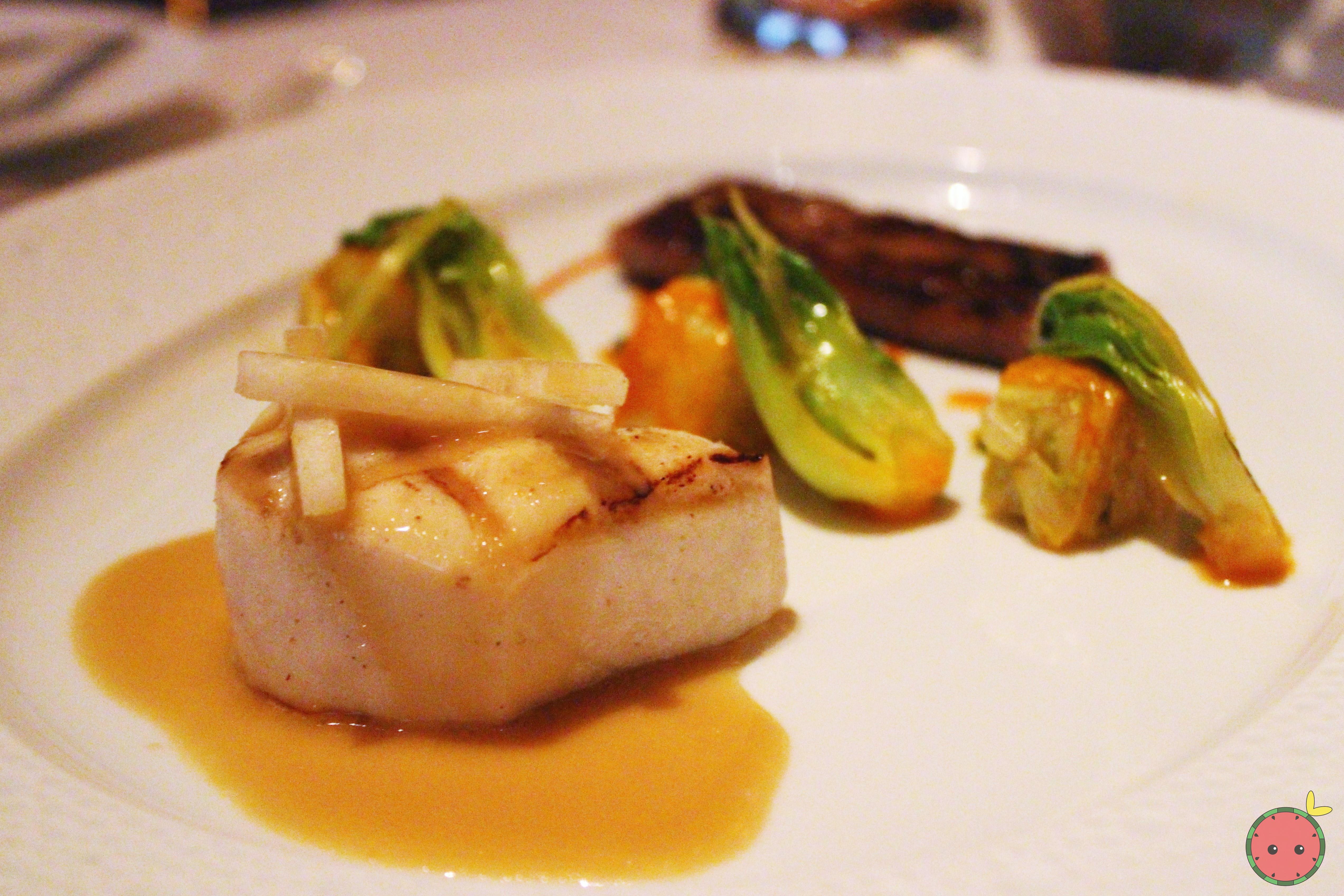 White Tuna & Japanese Wagyu - Grilled escolar and seared wagyu beef; fresh kimchi  Asian pear, soy-c