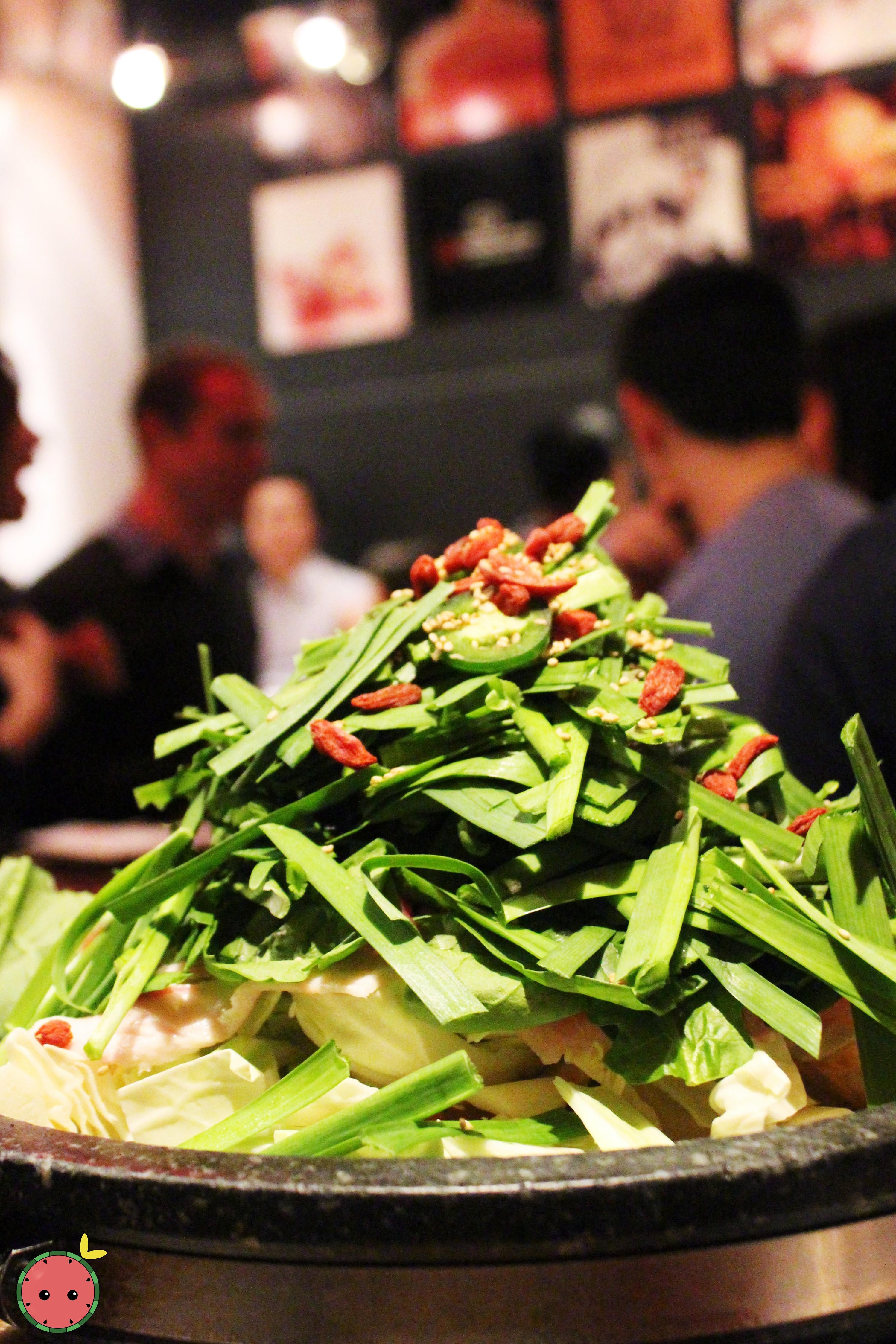 Hakata Tonton Hot Pot - A specialty of Hakata, Japan - Collagen broth, tofu, dumplings, vegetables,