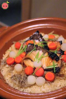 Yellowtail, Burdock, Radish, and Carrots over Rice