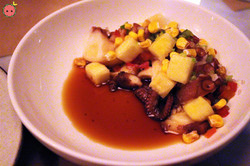 Octopus Poke - Soy yuzu, pineapple, corn, cilantro